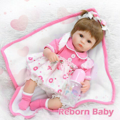"NEW 17"" Simulated Reborn Baby Dolls Soft Silicone Baby Lifelike Playing Toy Gift"