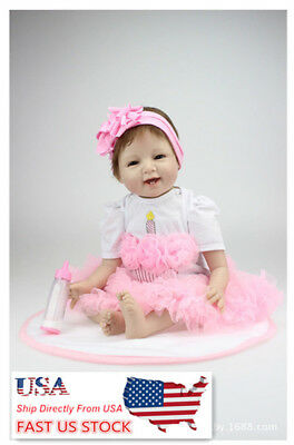 USA NPK 22'' Reborn Vinyl Realistic Bionic Silicone Newborn Girl Baby Doll Gifts