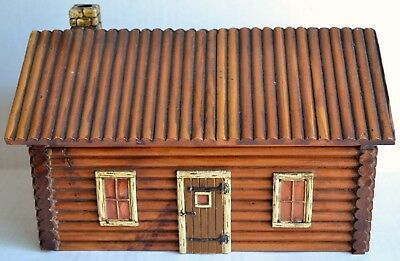 Vintage McGraw Wooden Country LOG CABIN TRINKET BOX Western Americana Decor