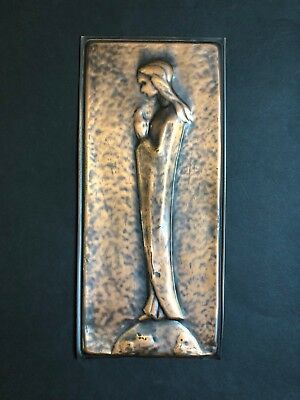 Modernist Religious Copper Wall Hanging Relief Plaque