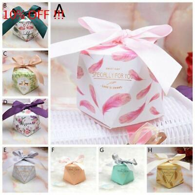10/50/100Pc Love Heart Favor Ribbon Gift Box Candy Boxes Wedding Party Decor--