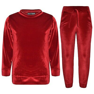 Kids Girls Lounge Suit Velvet Velour Top & Bottom Lounge Wear Tracksuit 5-13 Yrs