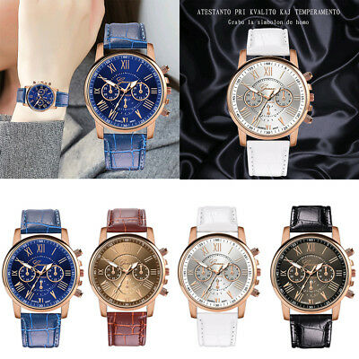 Casual Fashion Women Leather Band Quartz Analog Buckle Round Wrist Watch