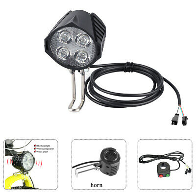 36V/48V/72V eBike Waterproof Front Light Electric Bicycle Headlight with Horn