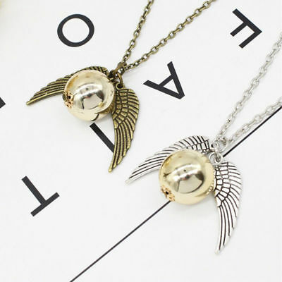 Gold Silver Harry Potter Quidditch Wings Golden Snitch Pendant Necklace OU