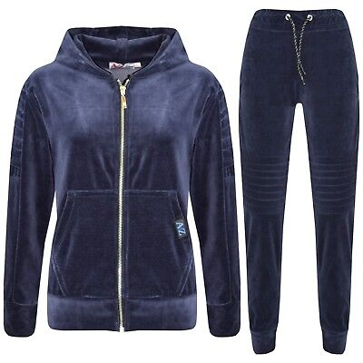 Kids Girls Boys Tracksuit Designer Plain Velour Hoodie Bottom Jog Suit 7-13 Year