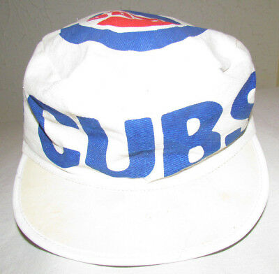 Vintage CHICAGO CUBS Painters Hat BASEBALL Throwback 80s! Sz-Med Small CUBS  HAT bb4365725a3