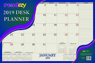 Readezy 2019 Month to View Desk Planner 405mm by 610mm By Bartel SR904