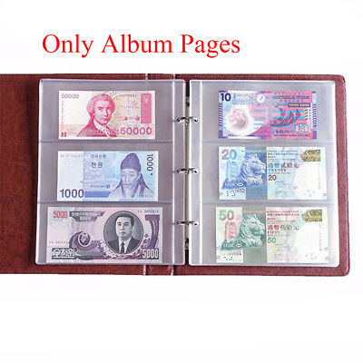 Album Pages 3 Pockets Money Bill Note Currency Holder Collection 1 Sheet Fad--