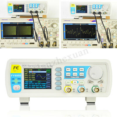 FY6800 20-60MHZ Dual Channel DDS Signal Generator Function Arbitrary Waveform UK