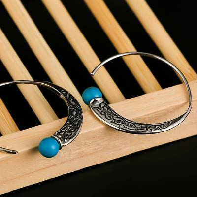 Retro Jewelry Dangle 925 Silver Turquoise Capricorn Hoop Earrings Stud Ear--