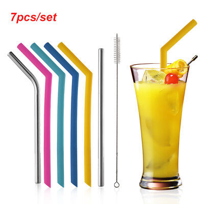 7pcs/set Stainless Steel Metal Drinking Straws Bent Straight Reusable + Brushes-