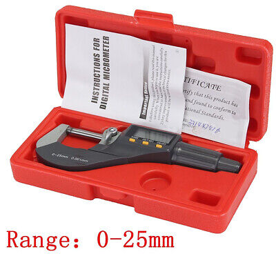 """0-1"""" 0.00005"""" LCD Digital Electronic Outside Micrometer Carbide Tip 0-25mm Box"""