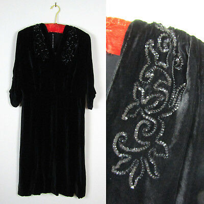 Antique 1930s SILK VELVET FLAPPER DRESS Vtg Black Art Deco SEQUIN Pinup 30s Gown