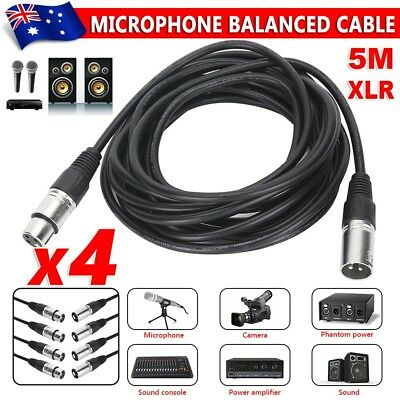 4 5m XLR Microphone Mixer Audio Cable Balanced Male Female Lead Connector Cables