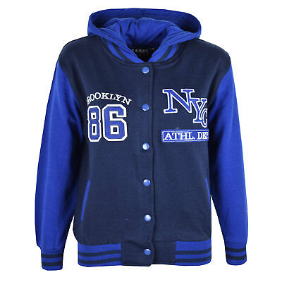 Kids Girls Baseball NYC ATHLETIC Navy Hooded Jacket Varsity Hoodie Age 5-13 Year
