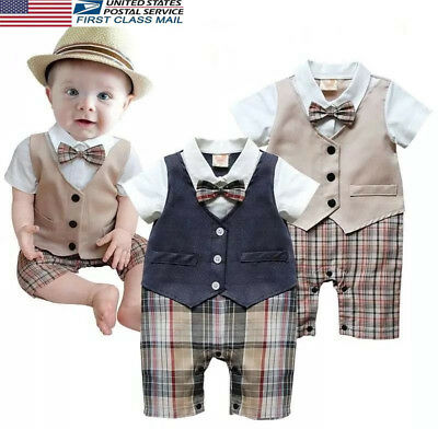 US Stock Newborn Kid Baby Boy Infant Outfits Jumpsuit Romper Bodysuit Set Outfit