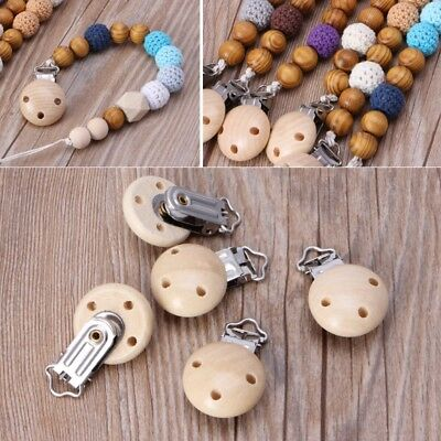 5Pcs Metal Wooden Baby Pacifier Clips Infant Soother Clasps Accessories