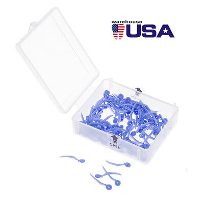 100pcs/Box Dental Poly-wedge Available Plastic With Holes SS 17.8*1.7mm Blue USA