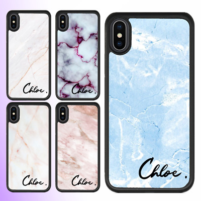 iPhone XS MAX XR X 8 7 6 Plus Shockproof Case Cover Marble Personalised Name VII