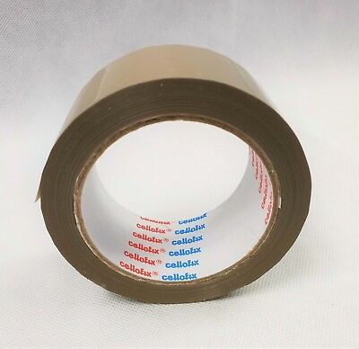 "3 Rolls Quality CELLOFIX 2/""  BROWN Buff Packing Tape 48mm x 66m Low Noise"