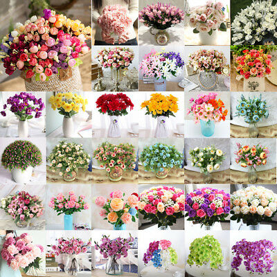 43 Styles Rose Peony Bouquet Fake Silk Flower Party Home Wedding Floral Decor