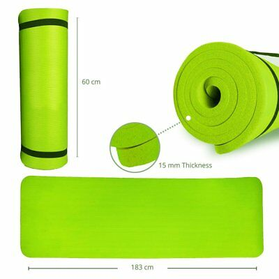 Yoga Mat 15mm Large Thick For Exercise Gym Fitness Workout Non Slip Carry Strap