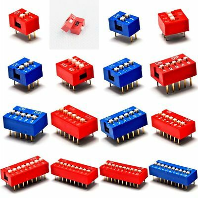 10PCS Red/Blue 2.54mm Pitch Slide Type Switch 1P/2P/3P/4P/5P-10P DIP Code Switch
