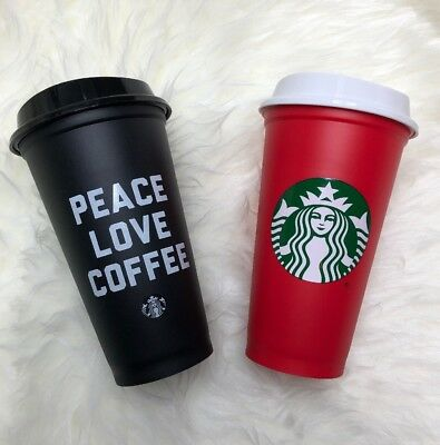 Lot of 2 Starbucks Reusable 16 oz Cups Red Holiday Black Peace Love Coffee