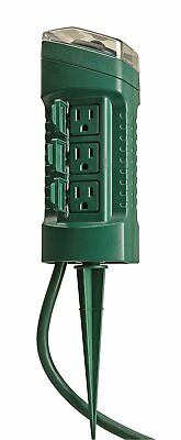 Woods  Outdoor Yard Stake with Photocell and Built-In Timer, 6 Grounded Outlets