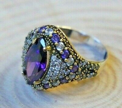 925 Sterling Silver Handmade Authentic Turkish Amethyst Ladies Ring Size 6-9