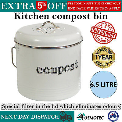 NEW Kitchen Compost Bin Food Waste Tumbler Recycling Composter 6.5 Litre White