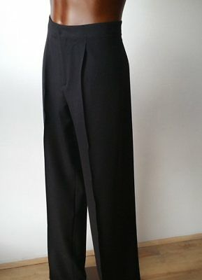 Entry Level Ballroom / Latin Stretchy Mens Dance Competition Trousers. Black