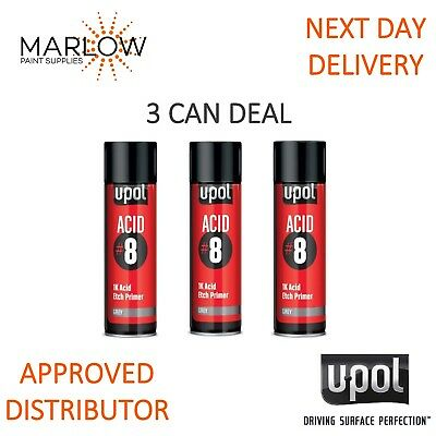 3 X U-Pol Acid 8 Grey Etch Primer Upol 450Ml Aerosol