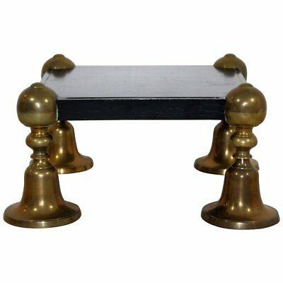 Mid Century Modern Brass Black Lacquer Wood Pedestal Table Parzinger Style 1960s