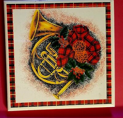 Vintage Christmas Trivet French Horn Pine Cones Holly Berries