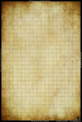 """20"""" x 30"""" Blank Tan- Battle Mat Grid lines Wargames RPG DnD Dungeons and Dragons"""