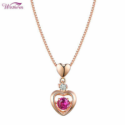 Heart Dancing Red Ruby Rose Gold 925 Sterling Silver Cz Pendant Chain Necklace