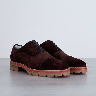 998ada427a6f CHRISTIAN LOUBOUTIN  1295 Expresso Hubertoucho FlatSuede Oxford Shoes