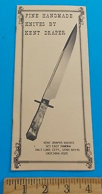 Vintage Fine Handmade Knives By Kent Draper Catalog Salt Lake City Utah Stidham