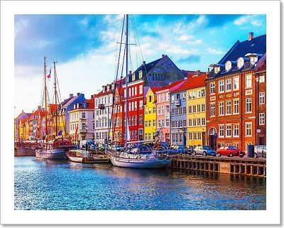 Nyhavn, Copenhagen, Denmark Art Print Home Decor Wall Art Poster - C
