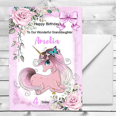 Girls Unicorn Birthday Card 1st 2nd 3rd 4th Granddaughter,Daughter Personalised