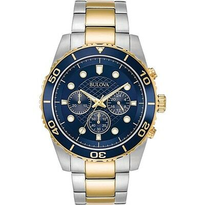 Marine Star by Bulova Men's Two-Tone Chronograph Watch, Blue Dial 98A170