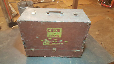 vintage color tv tubes and transistor tool service repair box FREE U.S. SHIPPING