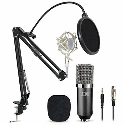 Professional Studio Condenser Microphone Computer PC Kit W 3.5Mm XLR Table Stand