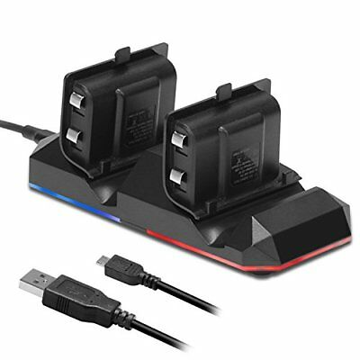 Xbox One Battery Charging Dock Dual Charger Station W 2 X1200mah Rechargeable Ba