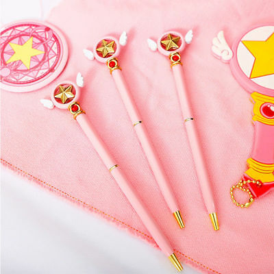 Anime Card Captor Sakura Star Wing Magic Pink Ballpoint Pen Stationery New Gift