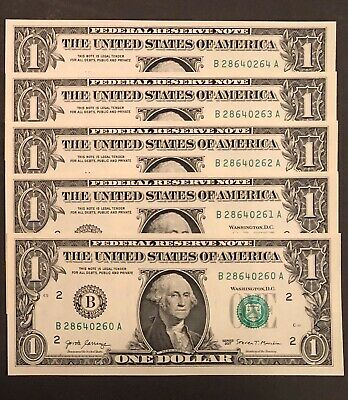 2017 $1- One Dollar Note/bill- Lot  Of 5 Consecutive- New York (B)- Brand New!