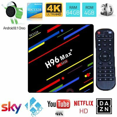 H96MAX+ Android 8.1 Oreo 4+64G Smart TV BOX Quad Core 4K Media Player TD