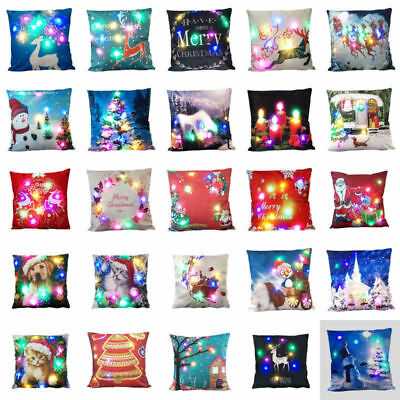100Christmas LED lights Linen Pillow Case Cushion Cover Home Decor Bed Sofa Case